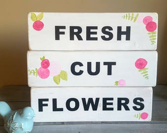"Handpainted ""Fresh Cut Flowers"" wood sign - perfect for Spring!"