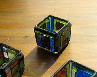 Mosaic Tea Light Holder. Mosaic Geometric Votive Holder. Recycled, Up Cycled. Colorful Craftsman Style Tea Light Holder. Purples Greens Blue