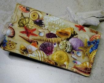 Checkbook Cover,Checkbook Wallet,Sea Shell Fabric Wallet, Bill Fold Wallet, Beach, Coastal,Checkbook Organizer, Sea Shells