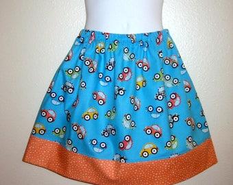 Blue Lovebug VW girls skirt, VW car skirt, sizes 6M to size 8