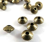 50 Antique Bronze Spacer Beads Ribbed Saucer Plated Brass 5x3mm - 50 pc - 6163-8