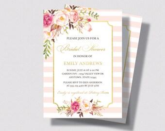 BRIDAL SHOWER INVITATION Blush Pink and Gold   Bridal Shower Invitation Watercolor Floral  with Roses   Shabby Chic Bridal Shower Invitation