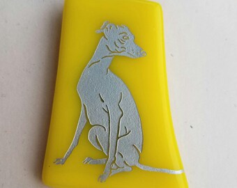 FrumsGlassMenagerie - Sitting Greyhound Glass Pin, Yellow