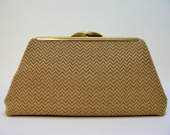 Modern Clutch Small Gold and Black Zig Zag Textured