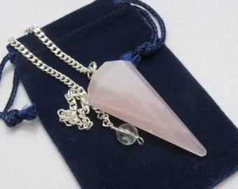 Rose Quartz Pendulum Healing Crystal Reiki Energy Divination Tool Chakra healing Stone