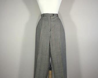 Vintage Rafaella Wool Pants, 80s Wool Trousers, Dress Plaid Slacks, Woman's Plaid Pants