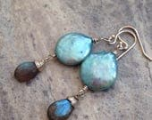 Pale blue coin pearl and labradorite earrings
