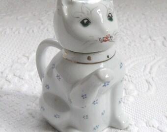 Cat  Pot with lid . cat tea pot. childs tea pot . creamer . cat creamer