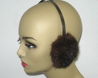 mink earmuffs . genuine mink earmuffs . fur earmuffs
