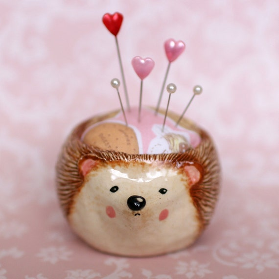 Hedgehog Ceramic Pincushion Pot