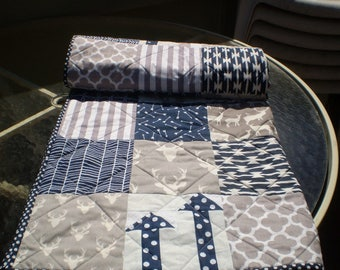 Baby quilt, patchwork crib quilt, baby boy bedding, baby girl quilt, rustic,  woodland , arrow,  grey, navy blue, moose, toddler, Deerhunter