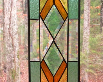 Stained Glass Rectangle Panel, Southwest Design in Amber and Green with Bevels