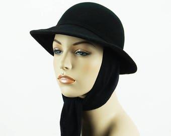 Vintage Black Wool Scarf Hat Fedora Style by Betmar Sz 21 1/2