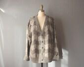 vintage slouchy cardigan / grey grandpa sweater / chunky knit cozy sweater / medium