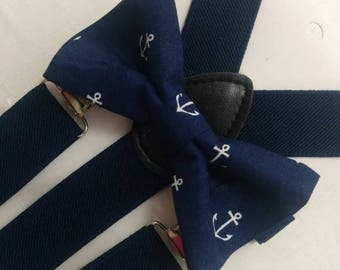 ON SALE NOW Anchor Bowtie and Suspenders Set or Hanky, Boys,  Men, Big Tall, Navy Blue, slate,  white,  gold Groom, ringbearer, photo shoot,