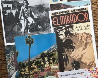 Let's Travel to Palm Springs California Vintage Collage, Scrapbook and Planner Kit Number 2368