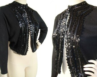Vintage 50s Sweater Black Wool & Sequins Rockabilly Cardigan M