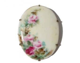 Vintage Edwardian Rose Brooch Antique Hand Painted Floral Porcelain Pin
