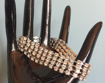 SPARKLING Vintage Four Strand White Rhinestone Bracelet PROM Wedding Bridal Silver Toned