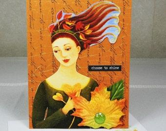 Handmade Greeting Card, Woman, with velvet leaf
