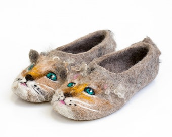 Little kids slippers Walker kids slippers Natural felted wool slippers shoes Brown Kitty