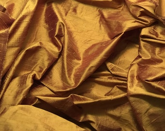 Gold Burgundy Silk DUPIONI Fabric - fat 1/4