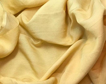 Hand Dyed GOLDEN YELLOW Silk and Cotton Blend Sateen Fabric - 1 Yard