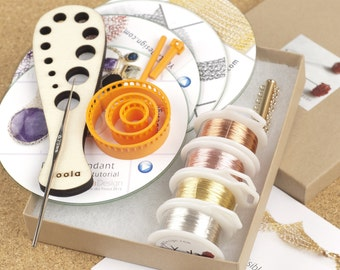DIY jewelry kit - Beginners wire crochet kit - 4 VIDEO tutorial - draw plate - ISK set - color wires - crochet hook - cuff link