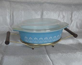 Vintage Rare Pyrex Promotional 1964 Blue Tulip Casserole Baking Dish W/ Lid #043 W/cradle