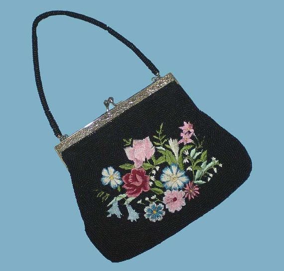 Vintage 40s Black Beaded Purse Floral Embroidery