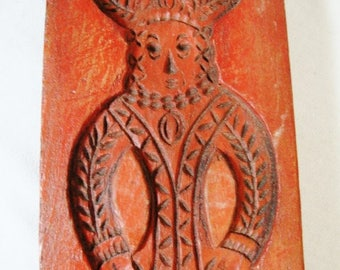vintage primitive red cookie mold wall plaque faux wood carved folk style