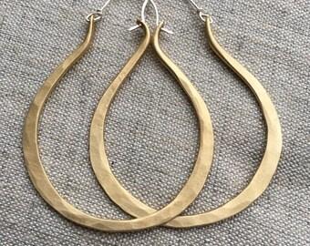 Large Brass Hoop Earrings Oblong Hoops Oval Hoop Earrings Hammered Hoop Earrings DanielleRoseBean Big Hoops