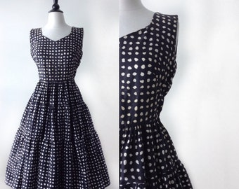 Vintage 1950s Dress - 50s Black and Cream Dress