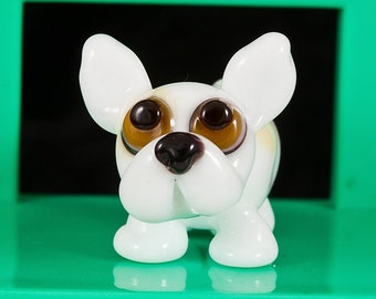 White Frenchie Lampwork Dog Bead