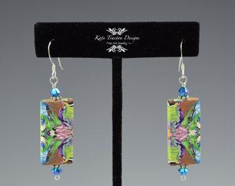Natasha Tile Earrings, Lime Green, Pink, Cornflower Blue, Polymer Clay