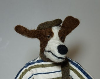 Skiing Dog - one-of-a-kind felted sculpture/art doll