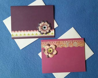 Two Colorful Blank Cards with 3D Flowers - dark purple and magenta, dimensional flower embellishments with rhinestones