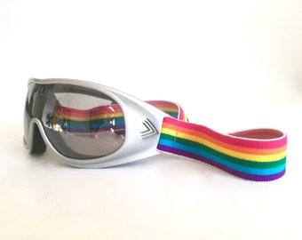 Retro Rainbow Ski Goggles