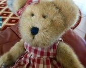 Vintage Boyds Schoolgirl Bear  with Apple Applique 14 Inches Tall,  Excellent Condition, Collectors Item