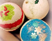 3 pack Holiday Buttermilk Bath Bombs: Candy Cane, Vanilla Cream Noel, Christmas Cashmere  - Handmade by Soothing Suds Bath & Body