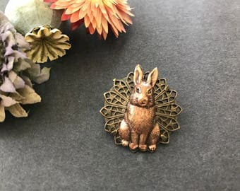 Rabbit Pin, Bunny Brooch, Easter Brooch, Bunny Rabbit, Hare, Woodland Brooch, Forest Animal, Pet, Spring, Sweater Pin, Lapel Pin, Copper Ox