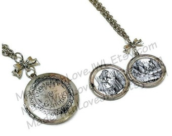 Curiouser and Curiouser Alice Inspired Locket Necklace