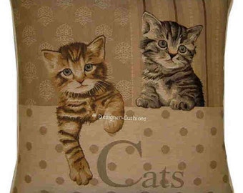 Two Kittens Paw Left Tapestry Cushion Pillow Sham