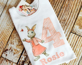 Lily Beatrix Potter Easter Bunny shirt for little girls with name and or birth year birthday