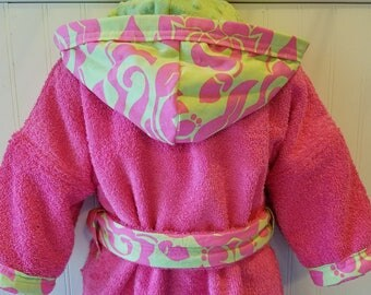 Girls-Bath-Robes-Personalized-Pink-Palm-Beach-Hooded-Terry-Towels-Swim-Suit-Cover Up-Bathrobes-Birthday-Holiday-Baby-Toddler-Teen-Kids-Gifts