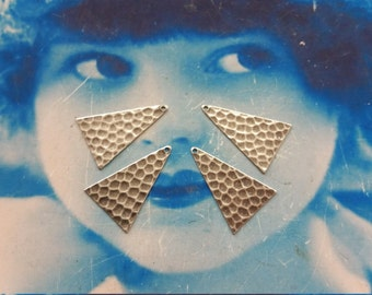 Sterling Silver Ox Plated Brass Triangle Hammered  Drops 1116SOX  x4