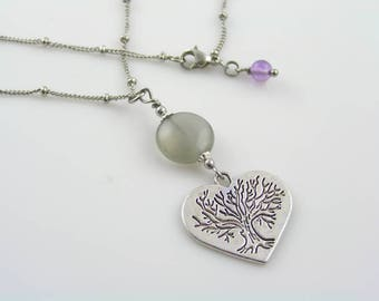 Gray Moonstone Necklace, Heart Necklace, Tree of Life Jewelry, Gift for Her, Heart Charm Necklace, Tree of Life Necklace, Tree Necklace