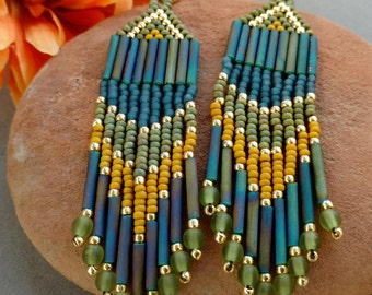 Long Fringe Earrings, Native American Beadwork, Seed Bead Earrings, Beaded Earrings, Brick Stitch Earrings, Blue and Green, Boho, TRILOGY