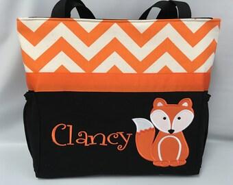 FOX ... ORANGE Chevron .. DIAPER Bag .. Applique  ... Bottle Pockets ... Personalized Free