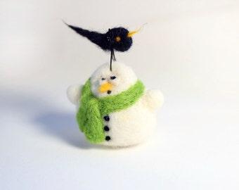 Felt Christmas ornament - needle felted snowman - bird on it with green scarf